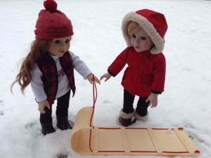 Lily and Daniela and sled