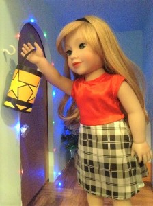 Lily hanging a lantern